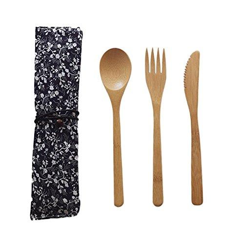 Coseyil Bamboo Posate Viaggi stoviglie, coltelli, forchette, cucchiai, 3Set di Posate Portable Set
