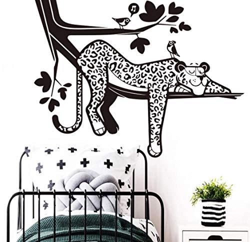 Calcomanía de pared de leopardo de dibujos animados bosque selva Animal rama pájaro vinilo pegatinas de pared decoración del hogar para niños sala de juego 54 * 42 cm