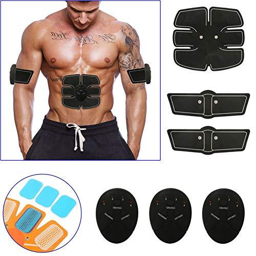 Symboat Inteligente Estimulador Entrenamiento ABS Fitness Gear Músculo Abdominal Tonificación Cinturón Zapatilla Dispositivo - Negro, 10pcs Replacement Gel Pad