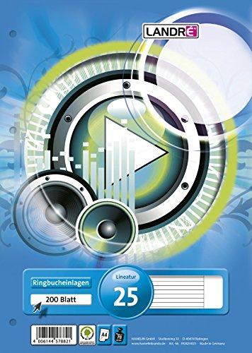 LANDRE 100050492 Ringbucheinlagen A4 200 Blatt liniert weißer Rand 70 g/m² runde Ecken gelocht Ringbuch-Einlage Papier-Einlage gelochtes Papier