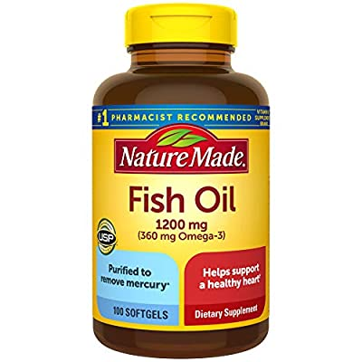 Fish Oil 1200mg, 100 Softgels, Fish Oil Omega 3 Supplement For Heart Health