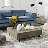 Safavieh VNN1023A Collection Gargon Dark Grey Indoor/Outdoor Modern Concrete 9.84' Casters Coffee Table