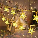 Cadena de Luces Estrellas [2 Pack] 5 M 50 LEDs Luces de cadena a batería con control remoto, Luces de Decoración para Jardín, Patio, Cortinas, Senderos, Navidad, Boda, Fiesta (Blanco Cálido)