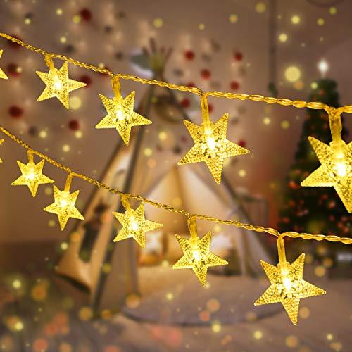Catene Luminose, Qxmcov 2 Pezzi Stella Fata Luce 5 Metri 50 LED Stelle Luci 8 Modalità Lampeggianti, Luci Illuminazione Decorativa Ideale per Albero di Natale, Nozze, Casa, Feste, Patio, Giardino