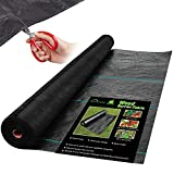homenote 5.8oz 4ft x 100ft Heavy Duty Weed Barrier Fabric, Professional Woven Landscape Ground Cover Weed Cloth with a Scissors, Outdoor Geotextile Fabric Durable Driveway Cover Garden Lawn Fabric