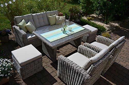 bomey Rattan Lounge Set I Gartenmöbel Set Sofa Manhattan 6-Teilig I 3-er Gartensofa Grau Tisch 2 Sessel 2 Hocker Polster Beige I Dining Lounge Polyrattan für Terrasse Wintergarten I Garten