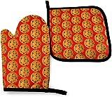 Chocolates Chip Cookie Kitchen Oven Mitt and Potholders Juego de cocina, guante de horno antideslizante resistente al calor para cocinar y hornear