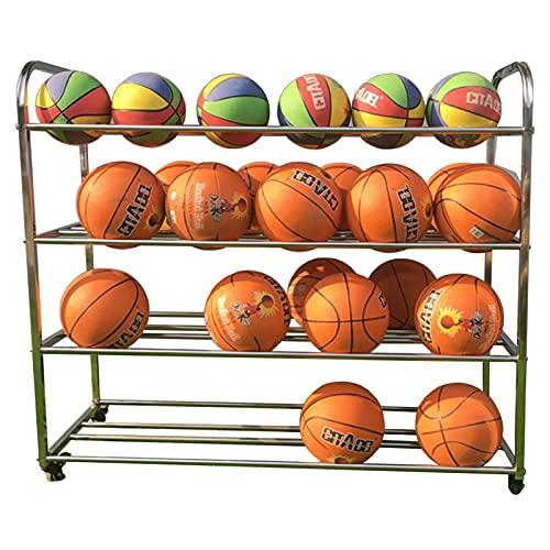 Estante de Pelota Almacenamiento de Bolas de Garaje de Acero Inoxidable, Soporte de Exhibición de Baloncesto de 4 Niveles, Organizador de Equipos Deportivos para Parques Infantiles, Sostiene 40 Bolas