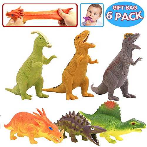 ValeforToy Dinosaur Toy8 inch Rubber Dinosaur Set(6 Pack)Food Grade Material TPR Super Stretcheswith Gift Bag and Learning Study Card Realistic Dinosaur Figure Squishy Toy for Boy Kid Party Favor