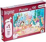 Schmidt Spiele- Schleich Bayala El Castillo de Meamare - Puzzle Infantil de 150 Piezas, Figura Venujas, Potro de Perlas, Color carbón (56303)