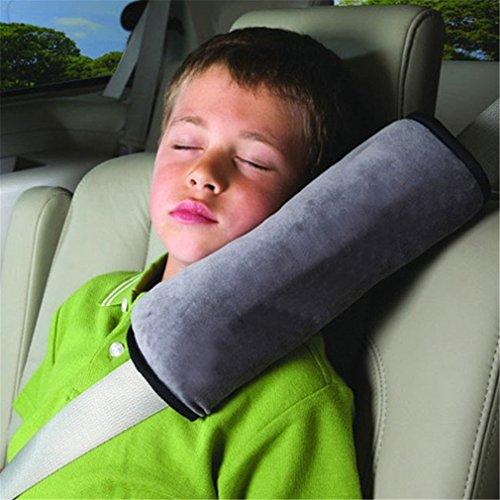 HENGSONG Schlafkissen Nackenstütze für Kinder Auto Baby Kind Sicherheitsgurt Autositz Kopfkissen Gürtel Pillow Schulterschutz (Grau)