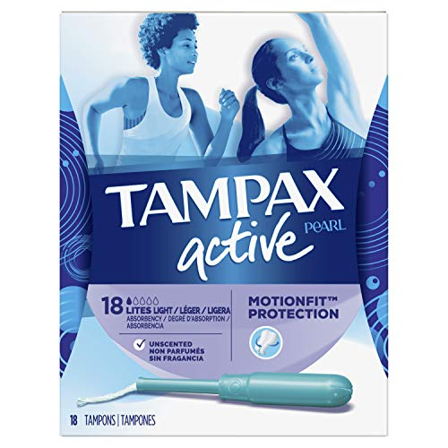 Tampax Pearl Active Plastic Tampons, Light Absorbency, Unscented, 18...