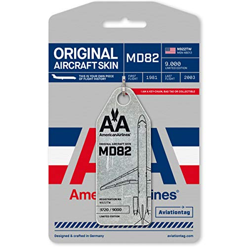 AVIATIONTAG American Airlines MD-82 / N922TW / Original Aircraft Skin Tag