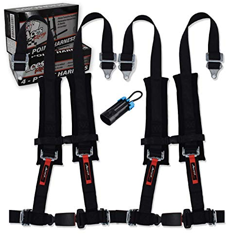 4 Point Harness (Pair) for Polaris RZR With Bypass Plug (Black, 4 Point)