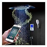 Juego combinado de ducha LED de 64 colores con cabezal de ducha de 580 mm x 380 mm, ducha de mano, grifo de bañera, válvula de ducha inteligente, control de teléfono móvil