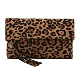 Charming Tailor Leopard Clutch Bag for Women Tassel Foldover Clutch Faux Suede Dressy Purse for Day to Evening (Brown)