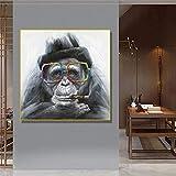 JHGJHK Nórdico Mono Gorila fumando Pintura al óleo Abstracta Cartel Imagen artística para Sala de Estar Dormitorio decoración de la habitación