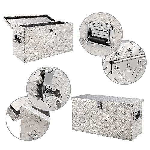 Arebos Aluminiumbox Werkzeugbox Deichselbox / 40 Liter / 60 x 25 x 30 cm/Inkl. Moosgummidichtung/Silber - 3