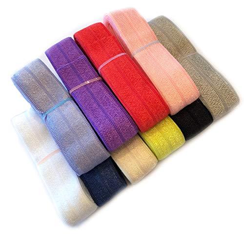 JLIKA Fold Over Elastic Stretch Foldover FOE Elastics for Hair Ties Headbands Variety Color Pack 10 Yards