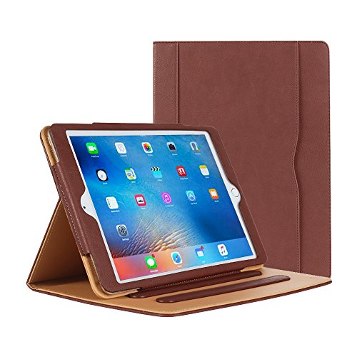 iPad Air Case - Leather Stand Folio Case Cover for Apple iPad Air Case with Multiple Viewing Angles, Document Card Pocket (Brown)