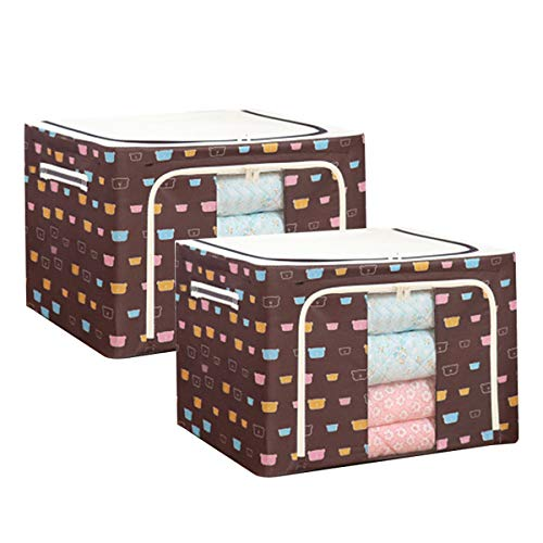 woyada Durable & Foldable Oxford Fabric Storage Box with Steel Frame for Clothes Bed Sheets Blanket Toys - 39x29x20cm/40x30x30cm