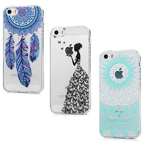 HMTECH iPhone 8 Plus Coque Paillette Antichoc Ultra Fine Papillon Fleur Fille Femme Transparente Silicon TPU Bumper Rubber Etui Housse for iPhone 7 Plus,GILR Green Blue Campanula