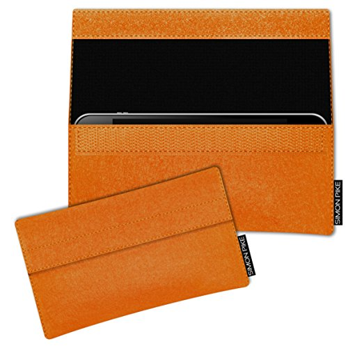 SIMON PIKE Hülle Tasche kompatibel mit Samsung Galaxy A8 Duos (2018) | Filztasche Newyork in 1 orange aus Filz (echtem Wollfilz) Handyhülle