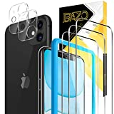 BAZO 3 Pack Screen Protector Tempered Glass and 2 Pack Camera Lens Protector for iPhone 11 (6.1 inch),9H [Alignment Easy Installation Frame] HD [Case Friendly] Clear Film