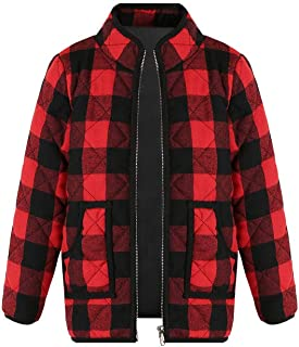 Ivay Girls Buffalo Cotton Plaid Quilted Vest Cute Puff Lined Gilet (4T/100cm, Y Red)