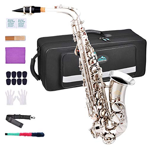 EASTROCK Alto Saxophone E Flat Nickel Brass Sax for Students Beginner With Reeds,Neck Strap,Mouthpiece&Cushion Pads,Cleaning Cloth&Rod,White Gloves