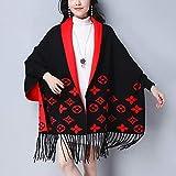 ufashionday Women's Elegant Tassel Wrap Swing Cardigan Knitted Oversized Sweater Coat Scarf Cape Poncho Long Cardigan