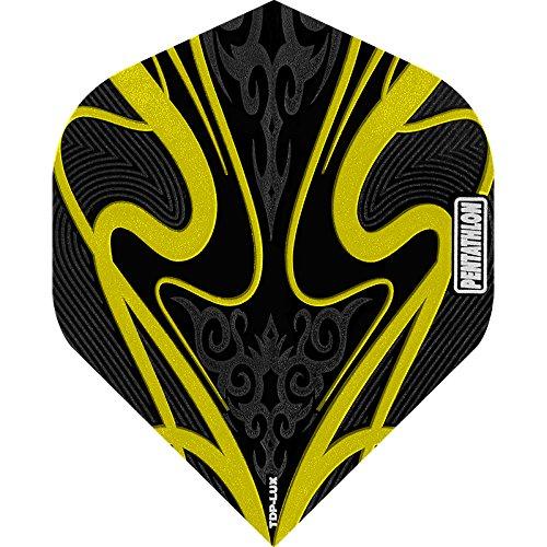PENTATHLON TDP Lux Dart Flights–Schwarz Serie–STD gelb, 5Sets (15)–inklusive Darts Ecke gebogen Kugelschreiber
