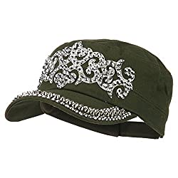 Olive Military Cap with Medieval Design