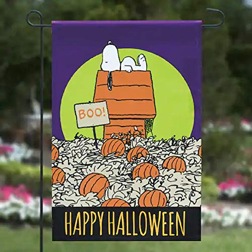Jetmax Peanut Great Pumpkin Happy Halloween Flag Garden Flag,12' x 18'