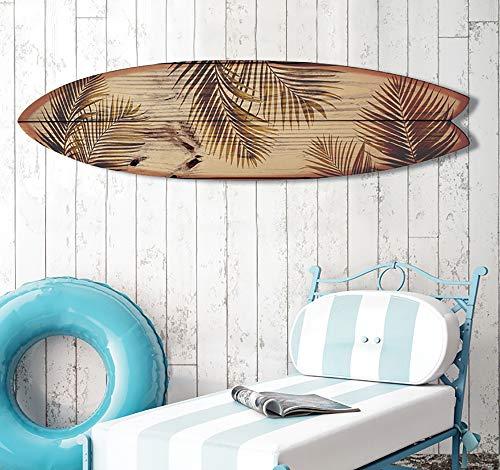 HXA DECO – Tabla de surf para decoración de pared, impresión de motivos de California sobre aluminio dibond, 145 x 40 cm, papel, Surf Brown Vintage, 145x40 Cm, 145x40