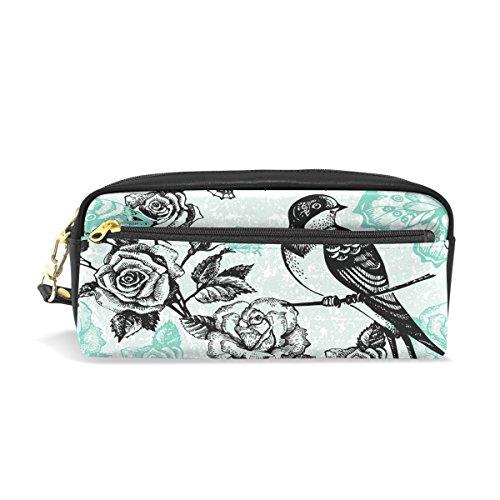 Trousse à crayons, vintage floral Bird Imprimé Voyage Maquillage Pouch Grande capacité étanche Cuir 2 compartiments pour filles garçons femmes Hommes