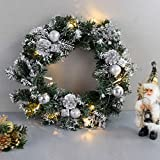 Christmas Front Door Wreath, Xmas Wreath Door Window Wall Hanging Ornaments Garland Ideal for Inside and Outside Decoration