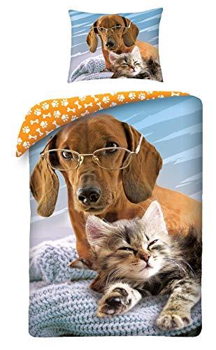 Halantex 3D Bettwäsche Hund und Katze 140x200 + 70x90 cm 100% Baumwolle Doppelseitig Exklusiv mit Verschluss