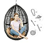 Greenstell Rattan Wicker Egg Hammock Chair with Hanging Kits,Weather Fastness Hanging Chair with Comfortable Brown Cushion and Pillow,Basket Swing Chair for Indoor,Outdoor Bedroom,Patio,Garden (Black)