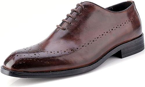 MALPYQ zapatos de Boda para Hombre de Piel de Estilo británico Retro, zapatos de Hombre de Piel Tallada Brock