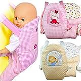 Kindabox Puppen Bauchtrage Puppen Tragegurt Puppentrage Bauchtragesitz für Puppen Tragegurt für Puppen Puppenzubehör für Puppe bis 43 cm (ohne Puppe) (Rosa)