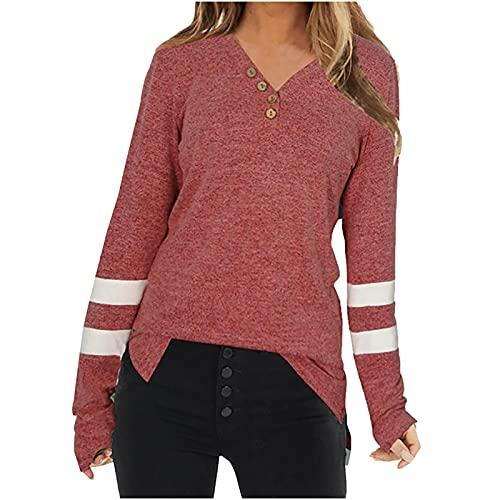 Sudadera de mujer de gran tamaño, suelta, de manga larga, de un solo color, con botones, camisa cómoda, suave, cuello en V, ajustada, básica, de algodón, para otoño hasta primavera, rojo, L