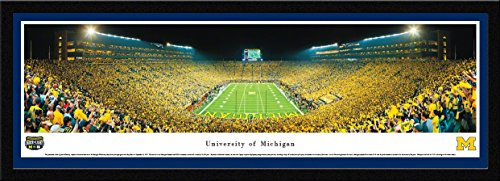 Michigan Football, Under the Lights - 42x15.5-inch Single Mat, Select Framed Picture by Blakeway Panoramas