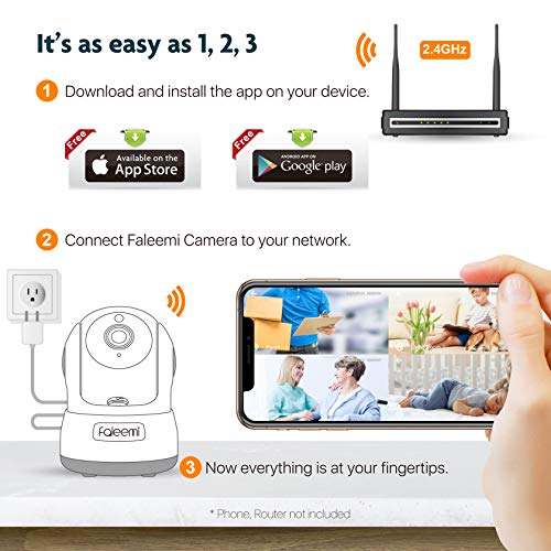 Faleemi Wireless Security Camera, WiFi Pet Camera, Nanny Cams Wireless with Cell Phone App, Home Surveillance HD IP Camera with 2 Way Audio, Night Vision, Motion Detection for Office/Dog/Baby Monitor