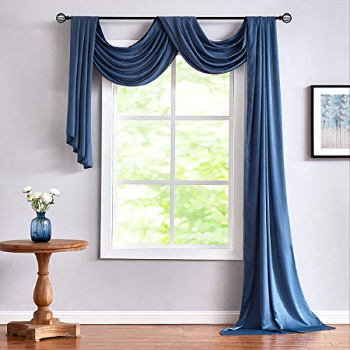 Blue Valance Scarf Curtain for Living Room 18ft Extra Long Window Valance 52' x 216' 1 pc Backdrop Curtain Panels for Wedding Arch Ceremony Reception Swag Holiday Party Festival Decorations 6 yards