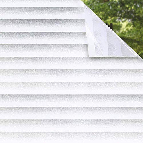 Shackcom Vinilo Película Cristal Ventana-90 * 400cm-Privacidad Pegatina sin Adhesivo - Decorativas para Electrostatica Translucido Anti UV-para hogar,Cocina,baño- Patrón de rejilla-J007