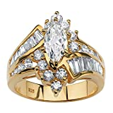 18K Yellow Gold over Sterling Silver Marquise Shaped and Baguette Cubic Zirconia Bypass Engagement Ring Size 6