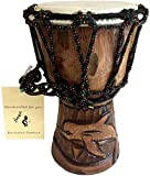 JIVE Djembe Drum African Bongo Congo Swimming Dolphin Hand Drum For Kids Adults Deep Carved Goat Skin Mahogany Wood - Small Size 7.5' High - NOT MADE IN CHINA