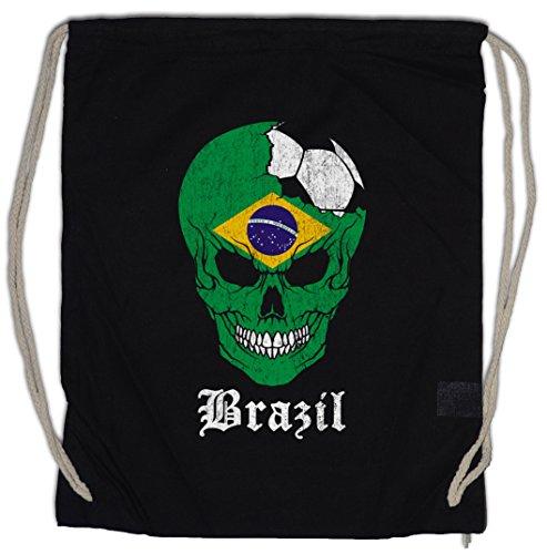 Urban Backwoods Brazil Football Skull I Turnbeutel Sporttasche