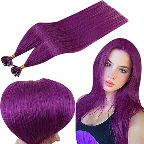 RUNATURE Tip Hair Extensions 25 Strands U Tip 16 Inch Color Purple 0.8g Per Strand U Tip Keratin Extensions 20g Colored Hair Extension Human Hair Fusion U Tip Extensions